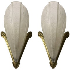 Pair of French Art Deco Wall Sconces Signed by Donna Paris