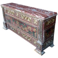 18th Century, Spanish Baroque Painted Coffer with Marble Top