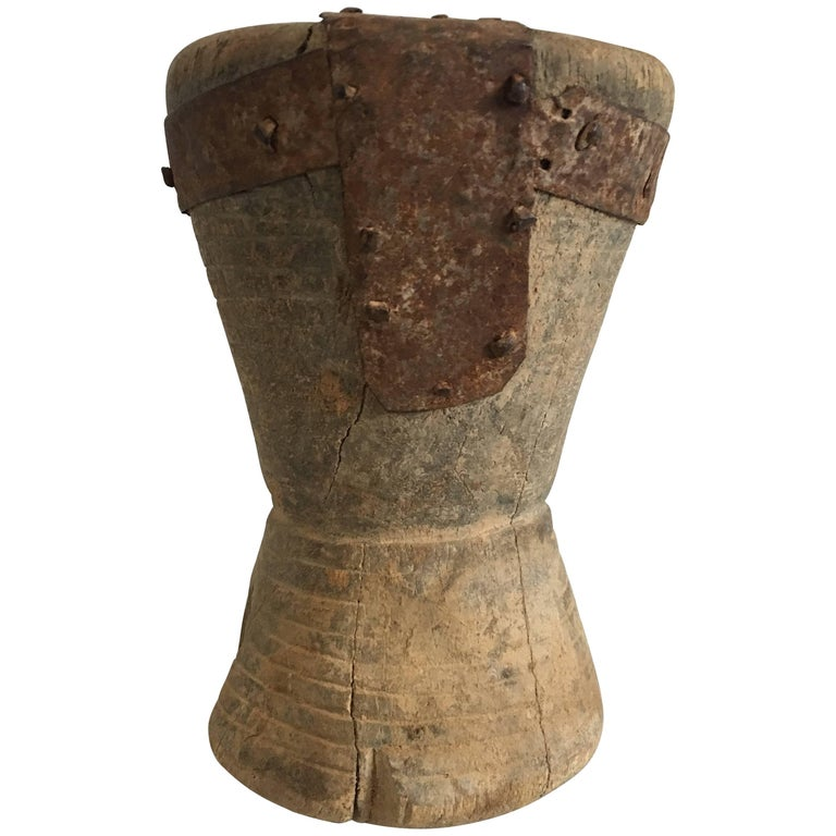 19th Century Small Wooden/Metal Mortar from Yemen/Saudi Border