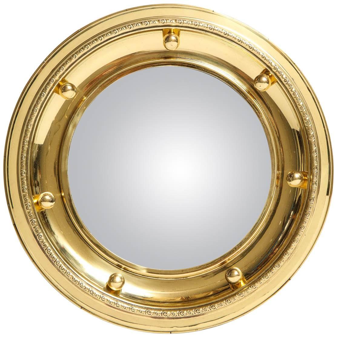 1930s English Brass Port Hole Mirror