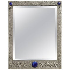 English Arts and Crafts Hammered Pewter Mirror