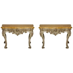 Pair of Italian Silver Gilt Rococo Console Tables