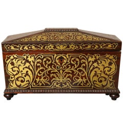 William IV Boulle Inlaid Rosewood Tea Caddy
