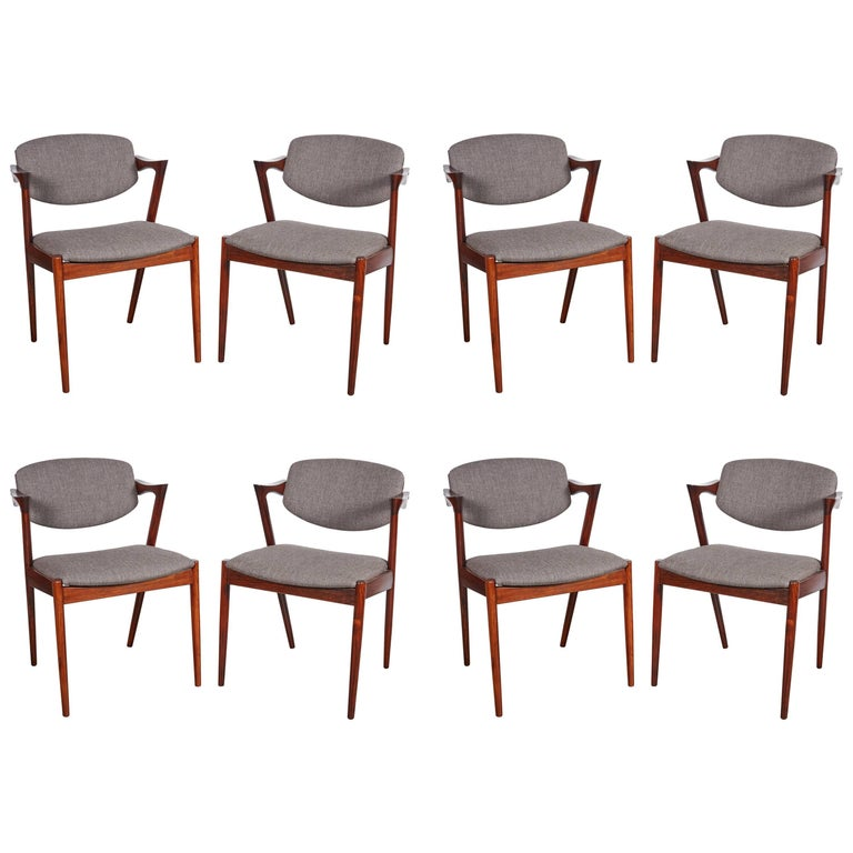 Kai Kristiansen No. 42 Rosewood Dining Chairs, Set of Eight 1