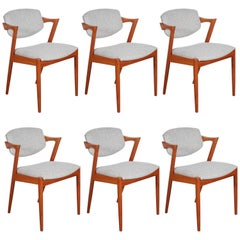 No. 42 Kai Kristiansen Teak Dining Chairs, Set of Six