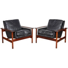 Sven Ivar Dysthe 7001 Leather Lounge Chairs, Pair