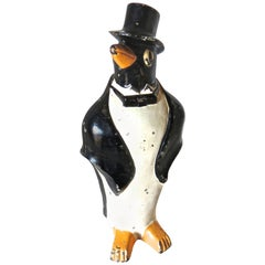 "American Doorstop ""Penguin with Bow Tie and Top Hat"", circa 1920"