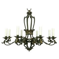 French Hand-Forged Iron Chandelier