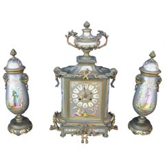 Small French Chinoiserie Clock Set