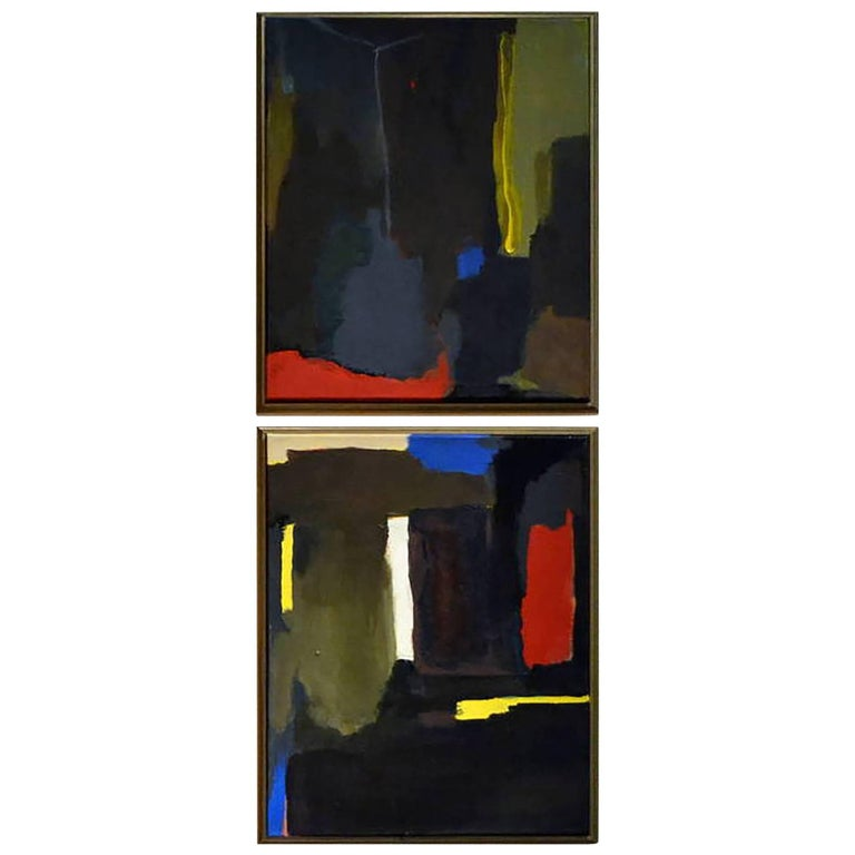 Pair of Abstract Paintings by Artist Don Shearer For Sale