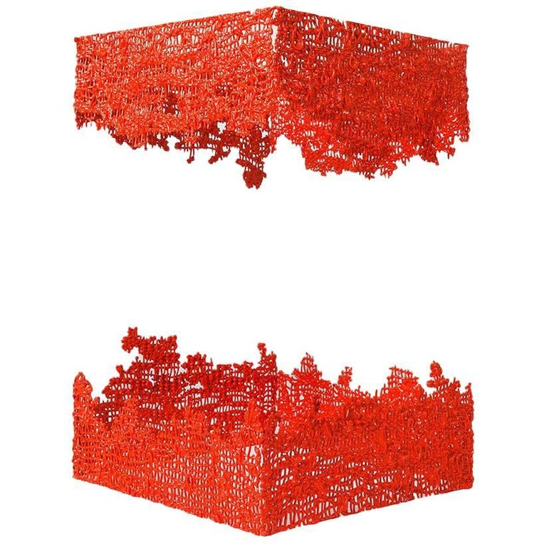 Contemporary Handwoven Fiber Cast Sculpture, Orange-Red Cast Wall by Mimi Jung
