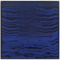 Contemporary Handwoven Wall Fiber Art, Blue Waves 1 by Mimi Jung