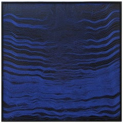 Contemporary Weaving Textile Art, Blue Waves 2 by Mimi Jung