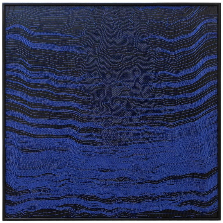 Contemporary Handwoven Wall Fiber Art, Blue Waves 2 by Mimi Jung