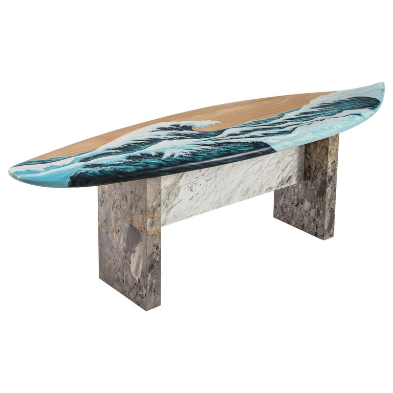 Motus Surfboard Bench In Marble And Painted Oak For Sale