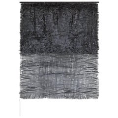 Contemporary Weaving Textile Fiber Art on Rod, Black to Black by Mimi Jung