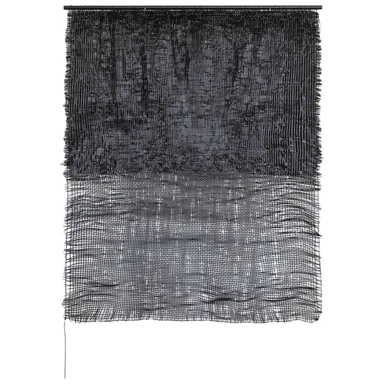 Contemporary Handwoven Wall Fiber Art on Rod, Black to Black by Mimi Jung