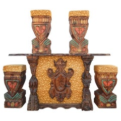 Avant Garde Tiki Bar with Four Stools by William Westenhaver for Witco