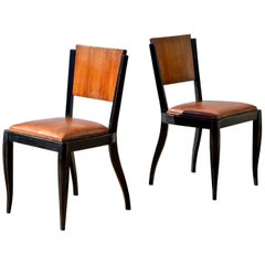 Ebonized Art Deco Style Side Chairs, Pair