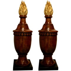 Pair of Neoclassical Style Wood Finials in the Form of Urns