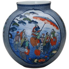 Contemporary Japanese Hand-Painted Porcelain Vase by Master Artist