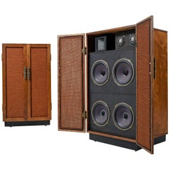 Massive Oak Cabinet Custom Made Speakers by Olson, 1960s