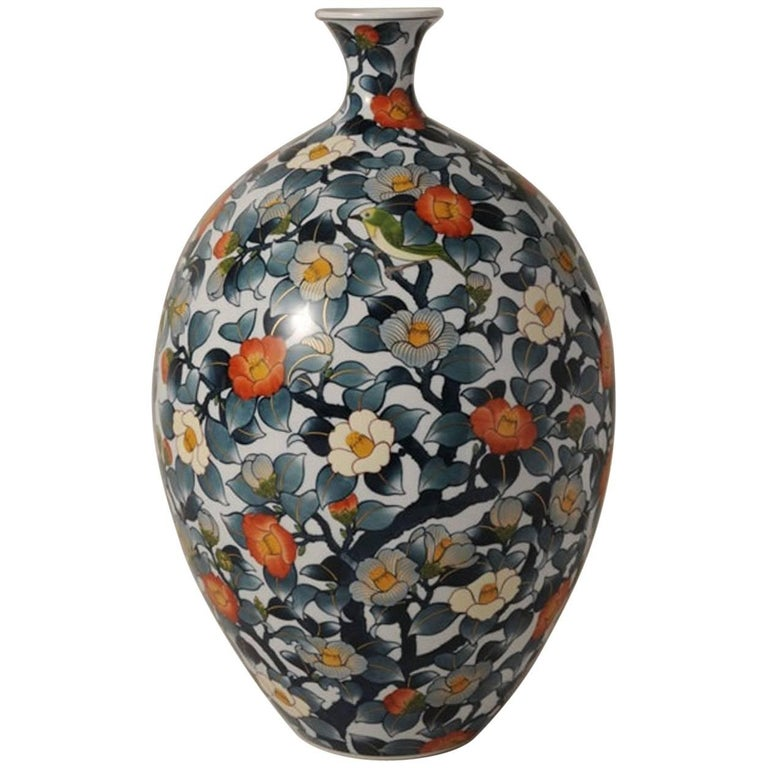 Large Contemporary Japanese Hand-Painted Porcelain Vase by Master Artist