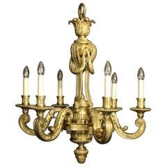 Französischer Antiker Sechs-Licht Mazarin Kronleuchter aus Vergoldeter Bronze, 19. Jahrhundert