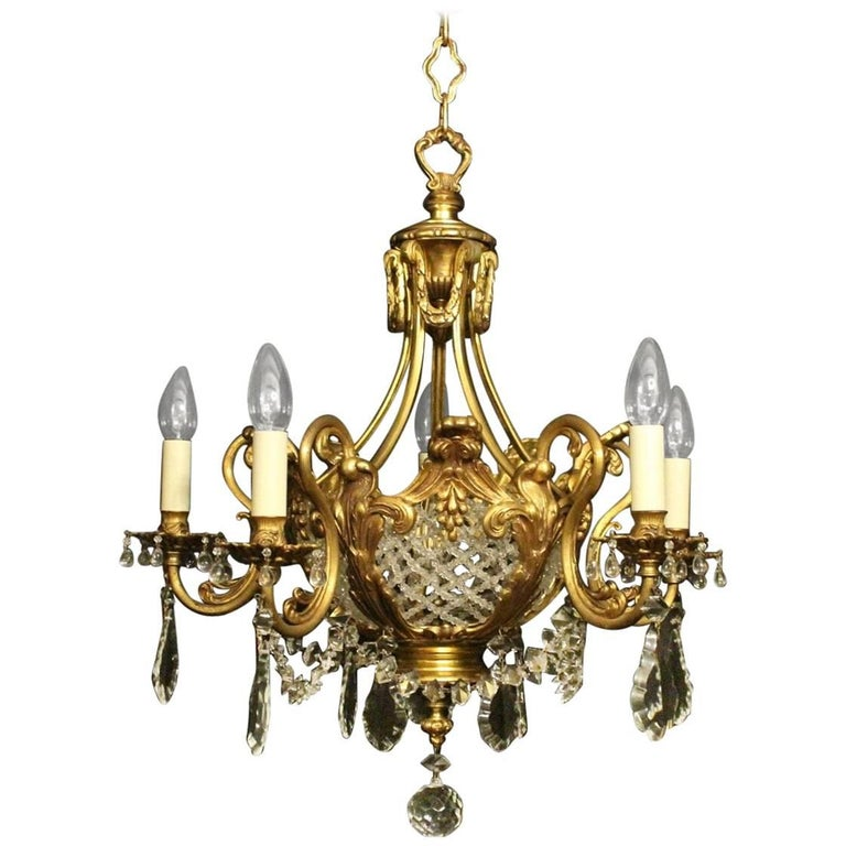 French Gilded Bronze and Crystal Six-Light Antique Chandelier