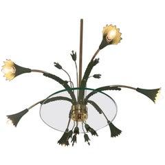 Italian 1940s-1950s Italian Floral Theme Brass, Glass and Enamel Chandelier