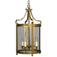 French Large Gilded Bronze Four-Light Convex Antique Hall Lantern