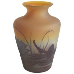 French Art Nouveau Emile Galle Cameo Glass Aquatic Vase circa 1900