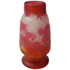 Near Miniature Art Nouveau Emile Galle Cameo Red and Orange Berry Vase