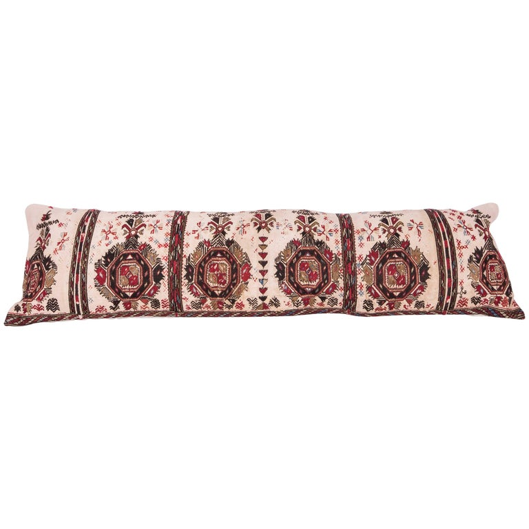 Long Antique Pillow Case Made from a 19th Century Macedonian Greek Embroidery For Sale