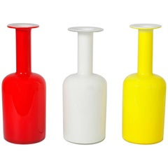 Three Danish Vases by Otto Brauer for Holmegaard, Denmark, 1960s