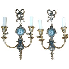 Pair of Edwardian Adam Style Brass Twin Wall Lights