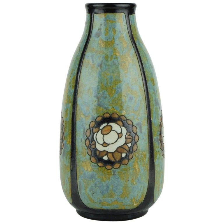 Art Deco Keramis Stoneware Boch Vase with Floral Medallions D771 F396 For Sale