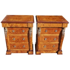 Pair of English Neoclassical Style Burl Walnut Figural Ormolu Commodes. C. 1880