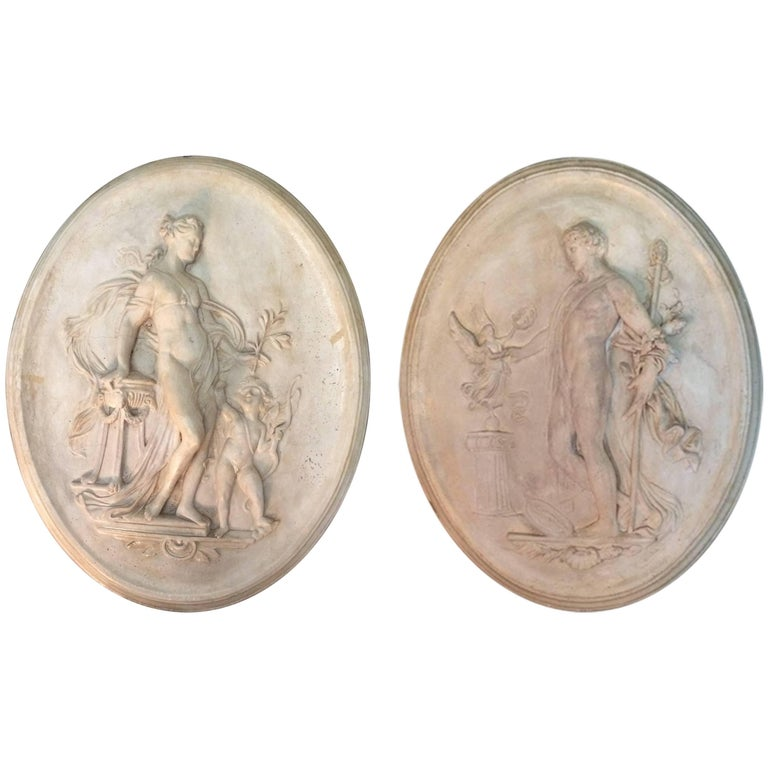 Gorgeous Pair of 19th Century, Italian Oval Plaster Relief Wall Sculptures