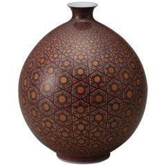 Japanese Ovoid Gilded Hand-Painted Porcelain Vase by Master Artist