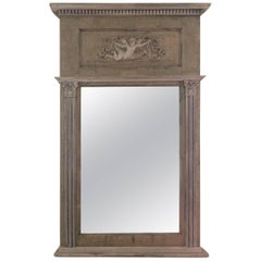 Very Pretty Painted Wood French Trumeau Mirror
