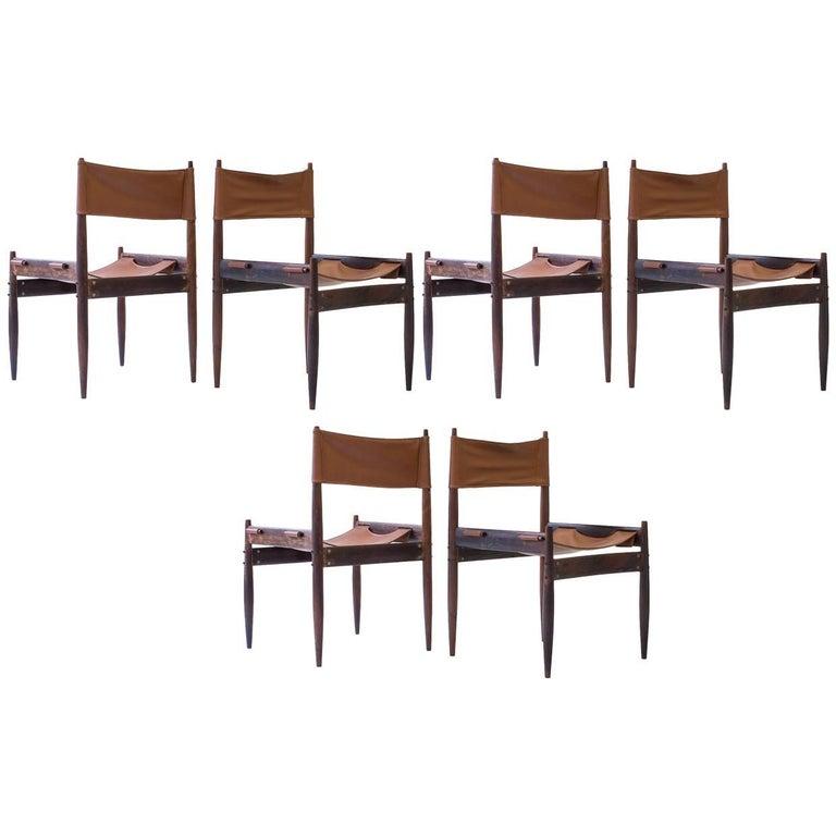 "Set of Six Jorge Zalszupin ""Jockey"" Chairs in Brazilian Rosewood, Brazil, 1960s"