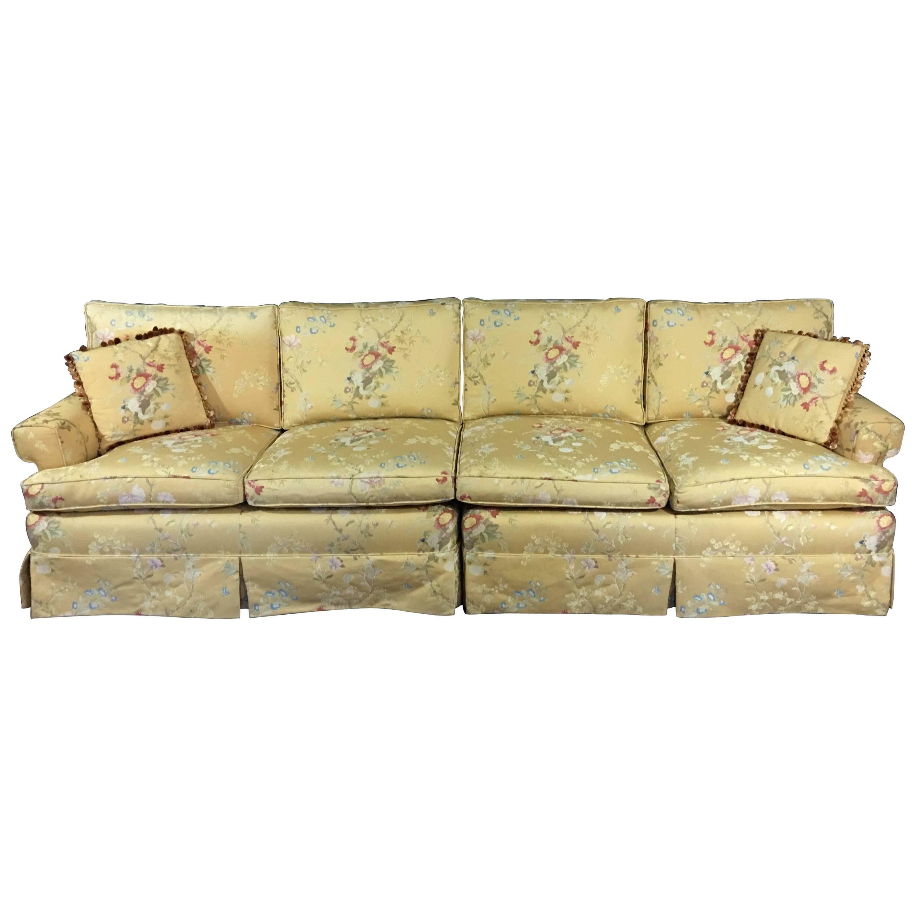 Large Two Piece Sectional Sofa In Pale Yellow Brocade For Sale