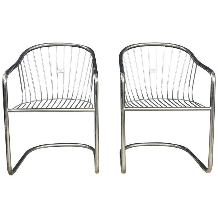 Pair of Gastone Rinaldi Vintage Chrome Cantilever Chairs