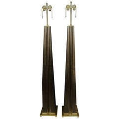 Stylish Hand Tooled Wood Floor Lamps with Custom Brass Accent Hardware