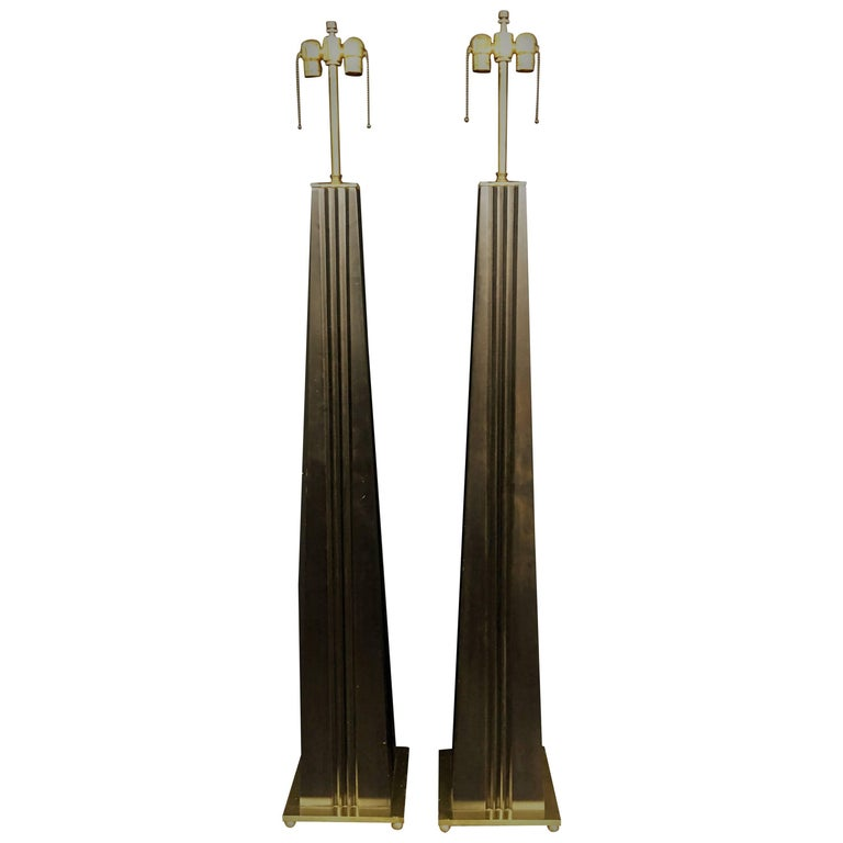 aac312b936f Stylish Hand Tooled Wood Floor Lamps with Custom Brass Accent Hardware For  Sale