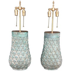 Unusual Pair of Molded Clay Vases with Lamp Application