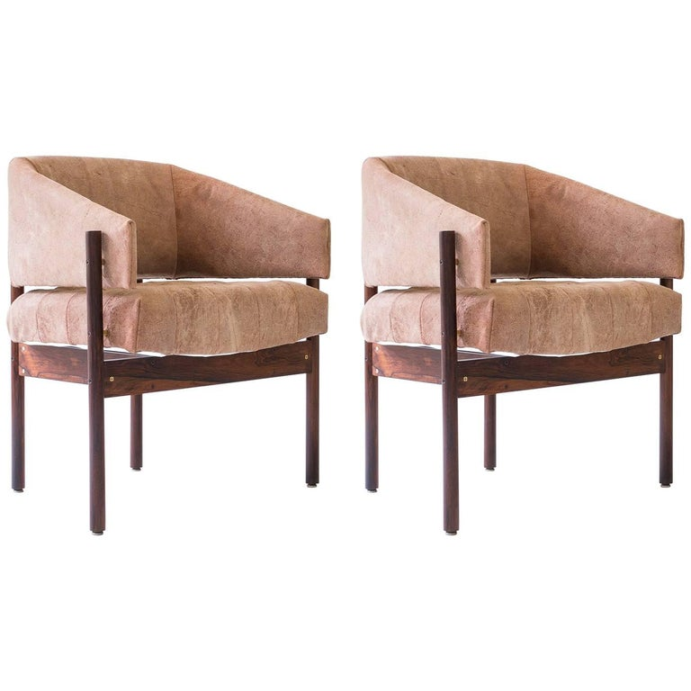 "Pair of Jorge Zalszupin ""Senior"" Armchairs in Rosewood and Leather, Brazil 1960s"