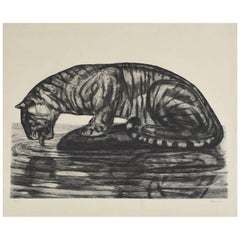 Drinking Tiger, Original Etching by Paul Jouve, circa 1930