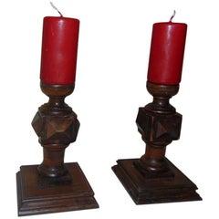 Pair of Walnut Louis XIII Candlesticks, circa 1890